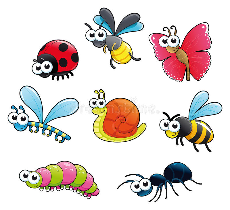 Bugs + 1 snail. Funny cartoon and isolated characters