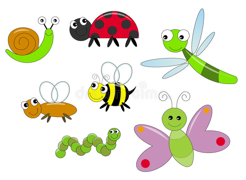 Bugs. Illustration of happy bugs in cartoon style