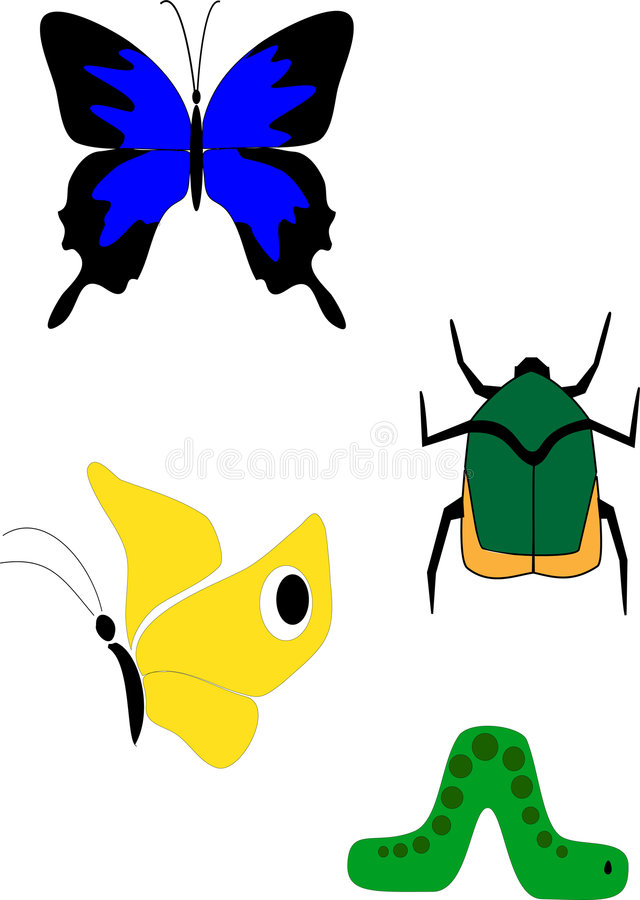Bugs. 4 bugs - two butterflies, one beetle and one inchworm royalty free illustration