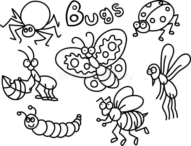 Bugs Coloring page. A coloring page for children with a lot of cute cartoon style bugs royalty free illustration