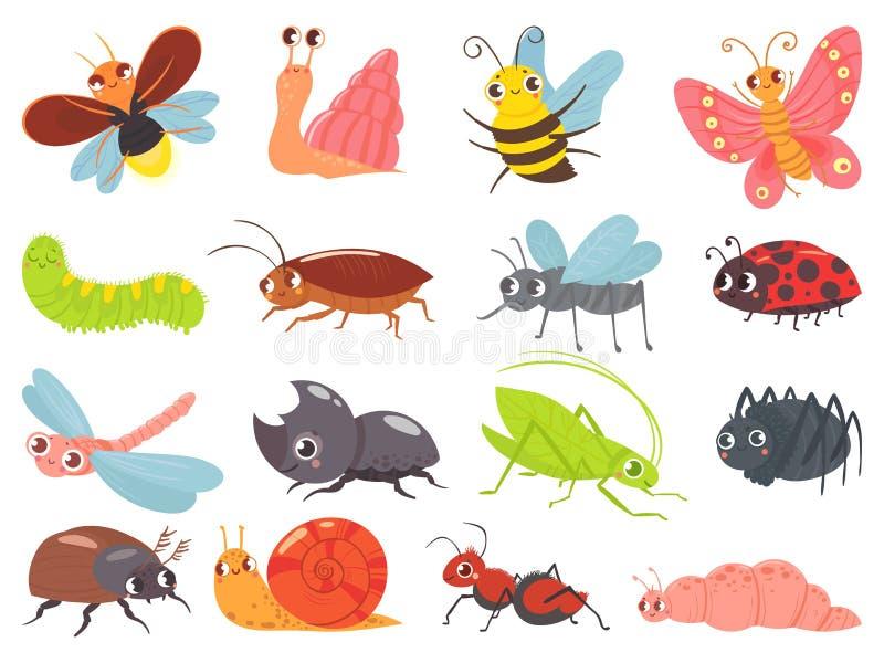 Bugs de dibujos animados insecto bebé, divertido y feliz insecto y adorable juego de vector ladybug stock de ilustración