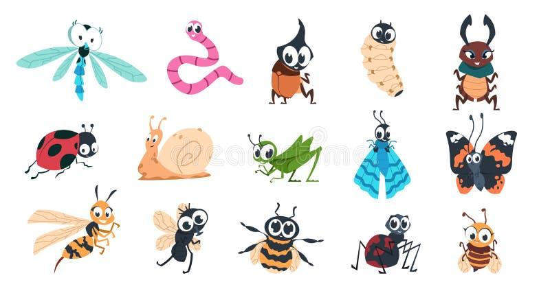 Bugs divertidos Caricatura adorables insectos con caras, oruga de mariposa mariposa araña de abejorro personajes coloridos Vector libre illustration