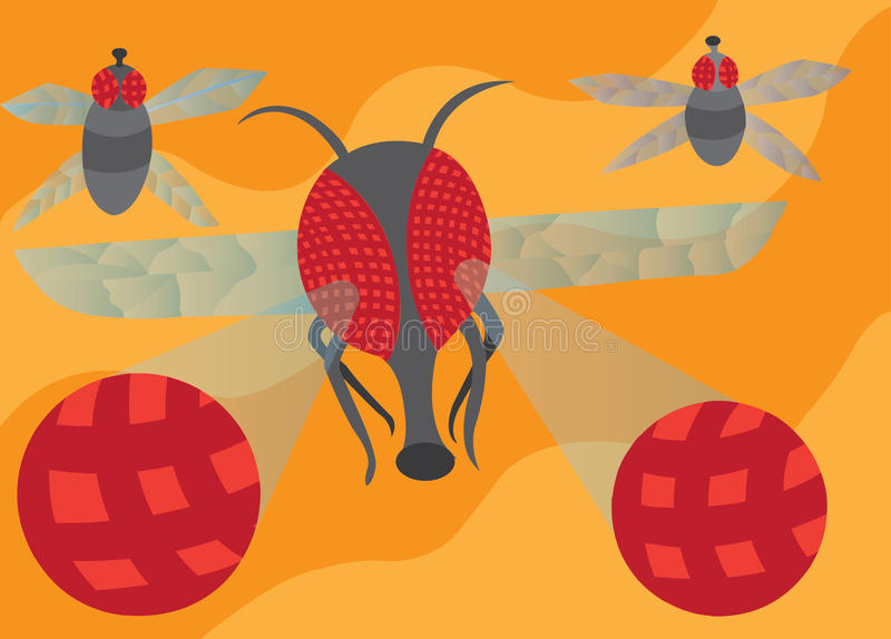 Bugs` eyes. An enlarged visual representation of a fly`s compound eyes royalty free illustration