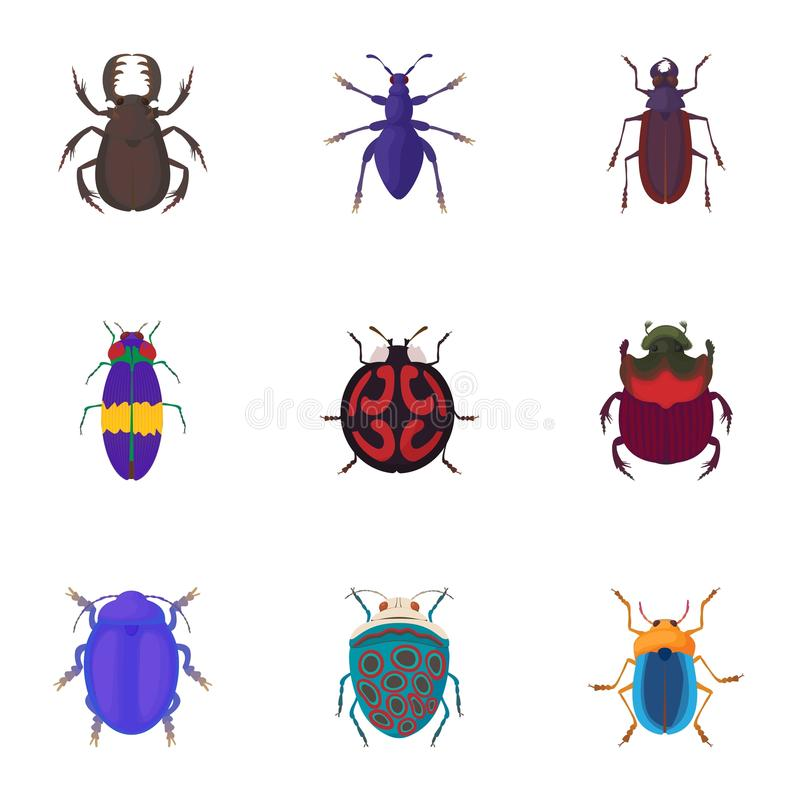 Bugs icons set, cartoon style vector illustration