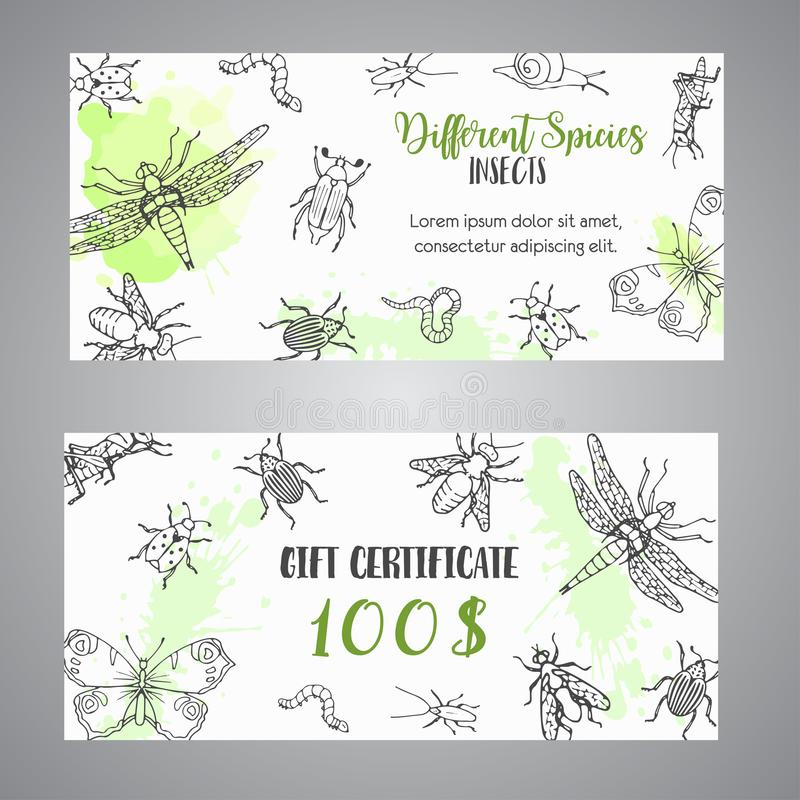 Free Bugs Insects Hand Drawn Gift Certificate. Pest Control Concept. Entomology Poster. Cartoon Illustration Of Pests And Bug Royalty Free Stock Photography - 120432207