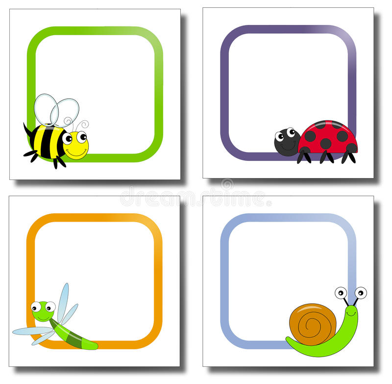 Bugs paper notes stock image