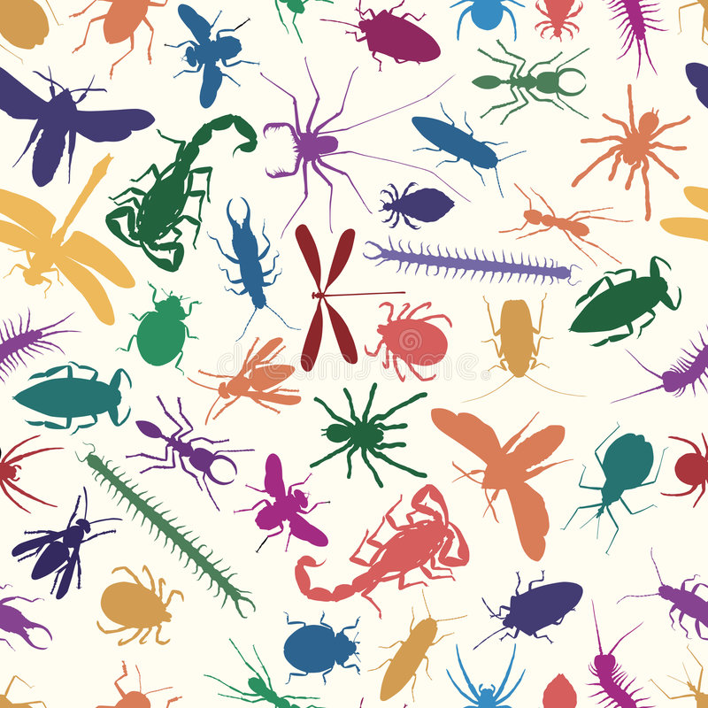 Bugs seamless tile. Editable vector seamless tile of various insects and other invertebrates stock illustration