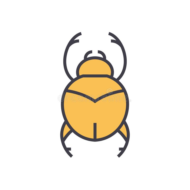 Bugs simple, egypt flat line illustration, concept vector isolated icon royalty free illustration