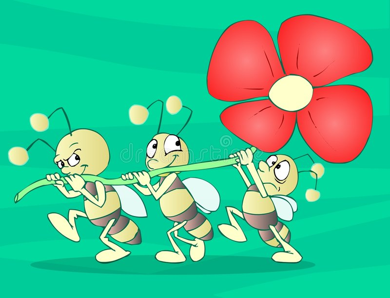 Bugs Team. With a flower