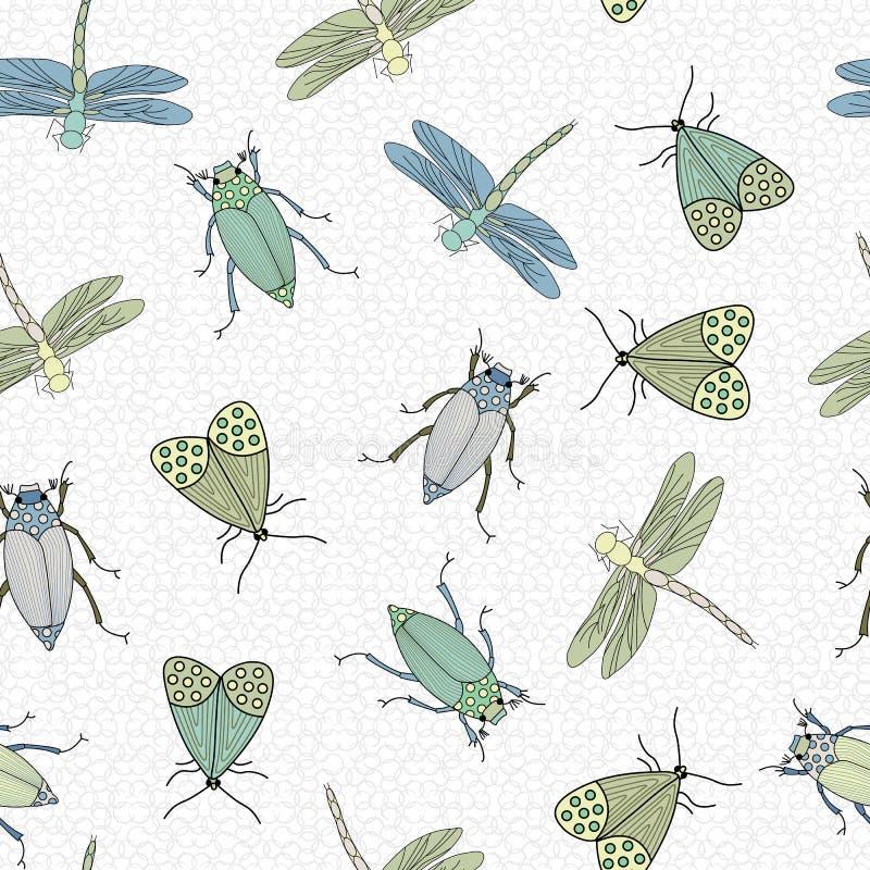 Bugs vectoriales azules, verdes y amarillos dispersos en fondo blanco patrón de repetición sin problemas Antecedentes de los text stock de ilustración