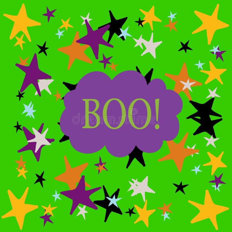 Buh! In Halloween-Farben für Karten und Hintergründe stockfoto