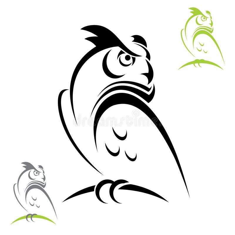Buho de cuernos ilustración del vector