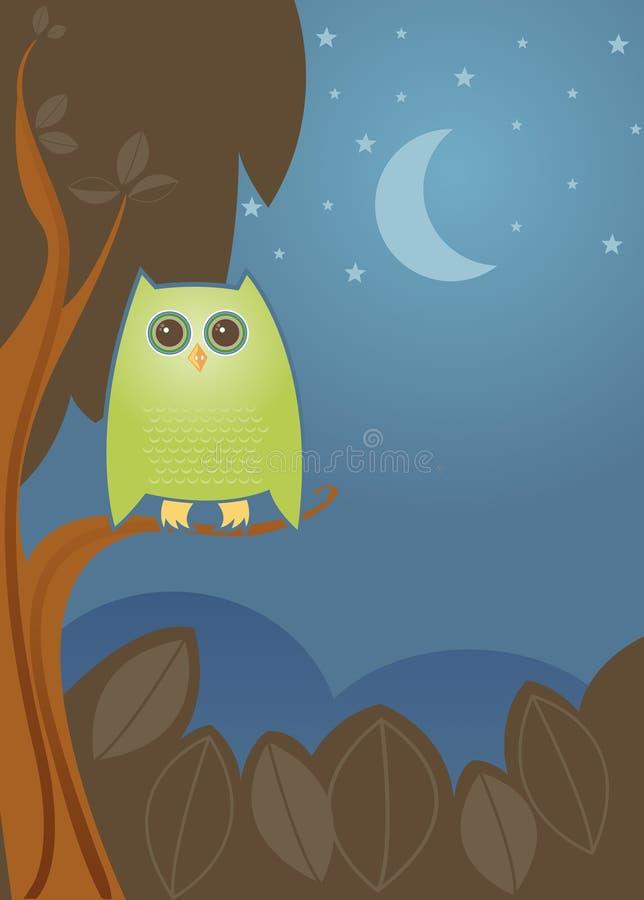 Buho de noche stock de ilustración