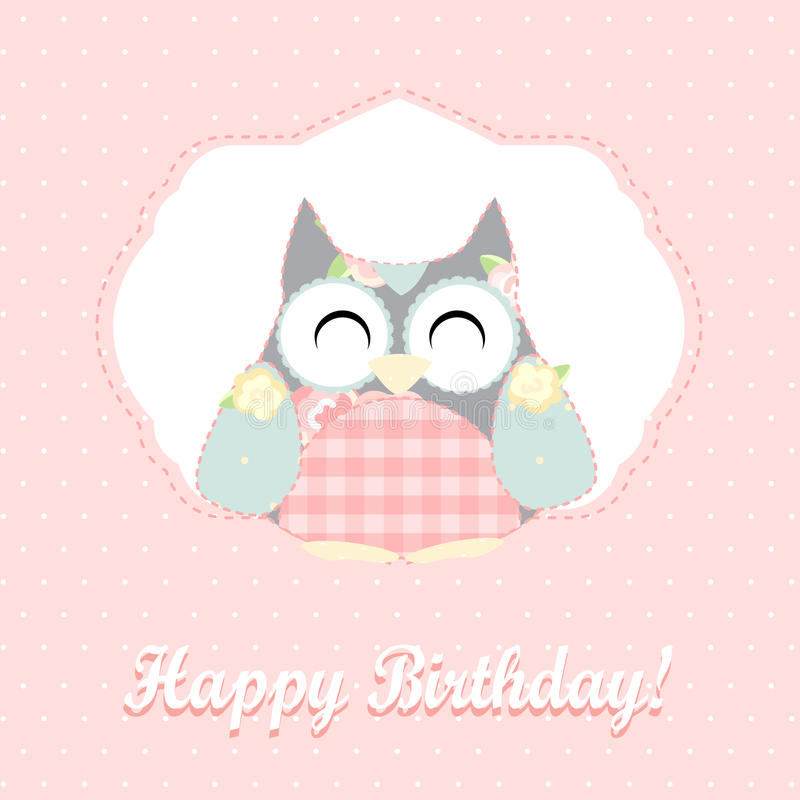 Buho lindo Tarjeta del feliz cumpleaños libre illustration