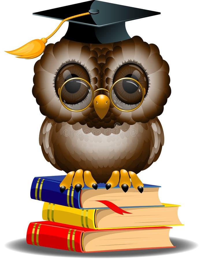 Buho sabio en una pila de libros ilustración del vector