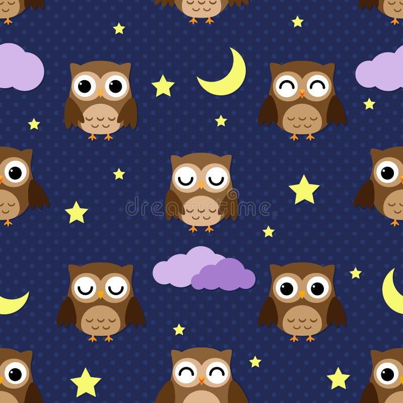 Buhos de noche ilustración del vector
