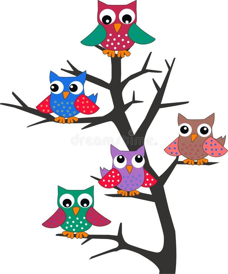 Buhos en un árbol libre illustration