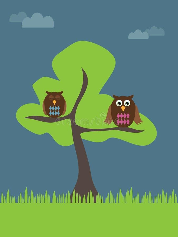 Download Buhos en un árbol ilustración del vector. Ilustración de ojos - 7278720