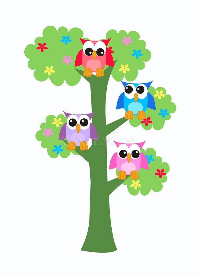 Buhos que se sientan en un árbol ilustración del vector