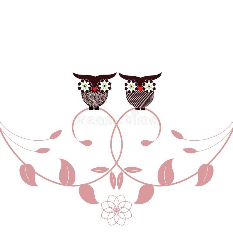 Buhos y follaje stock de ilustración