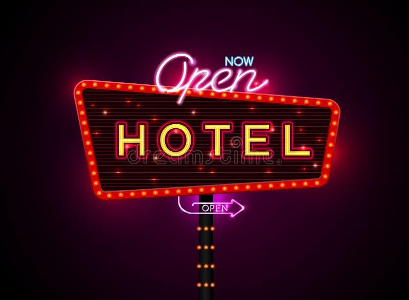 Buib e néon do sinal do hotel ilustração do vetor