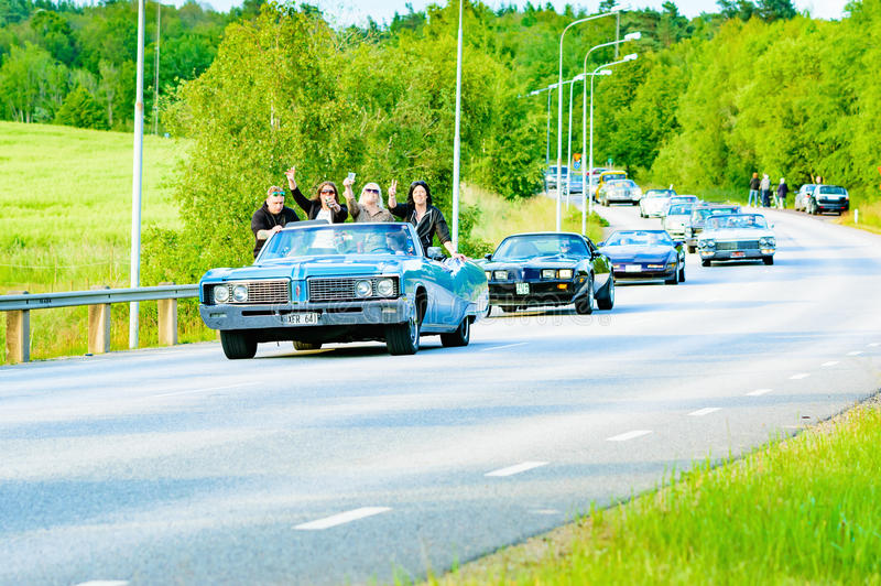Buick electra 225 blått för taxi 1968 arkivfoto