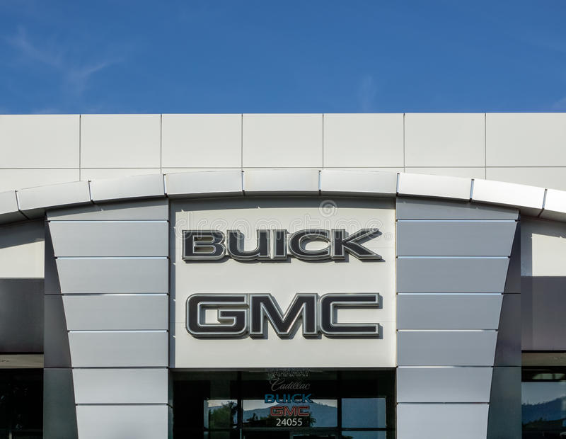 Buick GMC Automobile Dealership Exterior and Logo. stock images