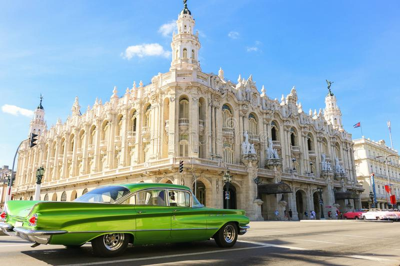 Buick Lesabre at the crossroads near the Great Theatre of Havana stock photos