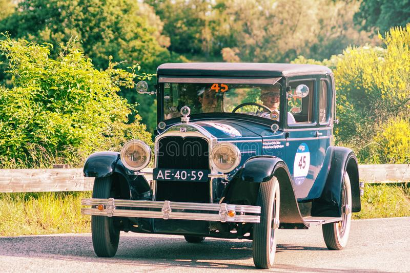 BUICK MASTER SIX COUPE 1928. PESARO COLLE SAN BARTOLO , ITALY - MAY 17 - 2018 :old racing car in rally Mille Miglia 2018 the famous italian historical race 1927 royalty free stock photo