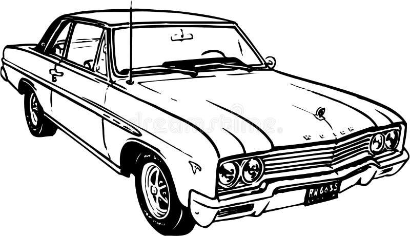 Buick två dörrillustration royaltyfri illustrationer