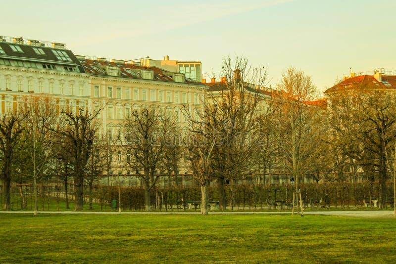 Buidings, Augarten Park, Vienna, Austria stock photo