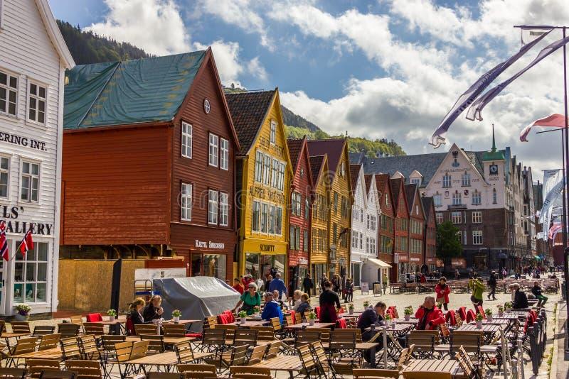 Buidings históricos de Bryggen em Bergen, Noruega imagem de stock