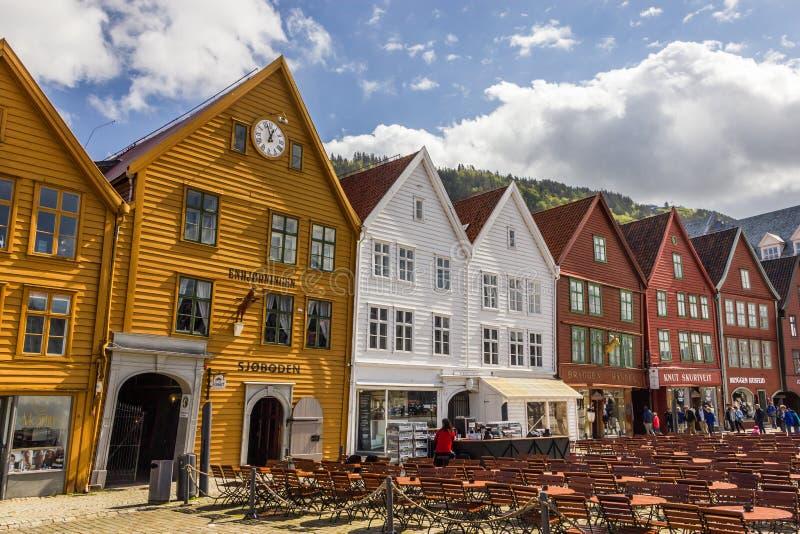Buidings históricos de Bryggen em Bergen, Noruega imagens de stock royalty free