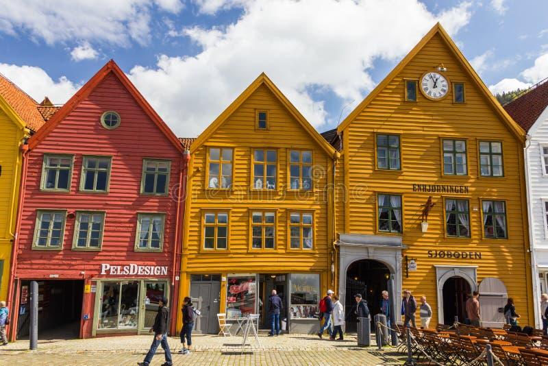 Buidings históricos de Bryggen em Bergen, Noruega fotos de stock