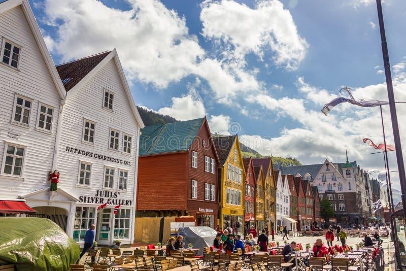 Buidings históricos de Bryggen em Bergen, Noruega fotos de stock royalty free