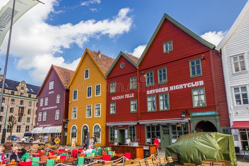 Buidings históricos de Bryggen em Bergen, Noruega foto de stock royalty free