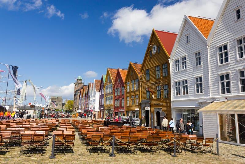 Buidings históricos de Bryggen em Bergen, Noruega imagem de stock royalty free