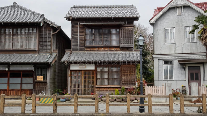 Buidings japonais et occidental dans la ville de Sawara photo libre de droits