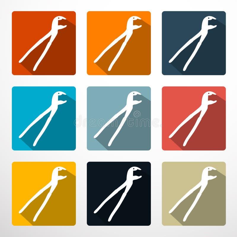 Buigtang - Geplaatste Pictogrammen van het Scharen de Vlakke Ontwerp vector illustratie