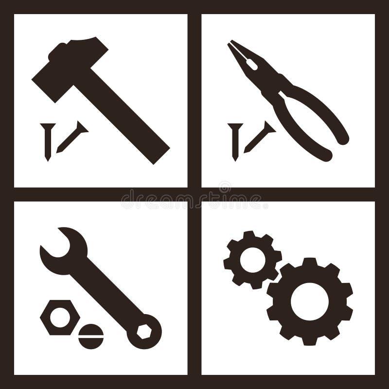 Buigtang, hamer, moersleutel en toestellenpictogrammen stock illustratie
