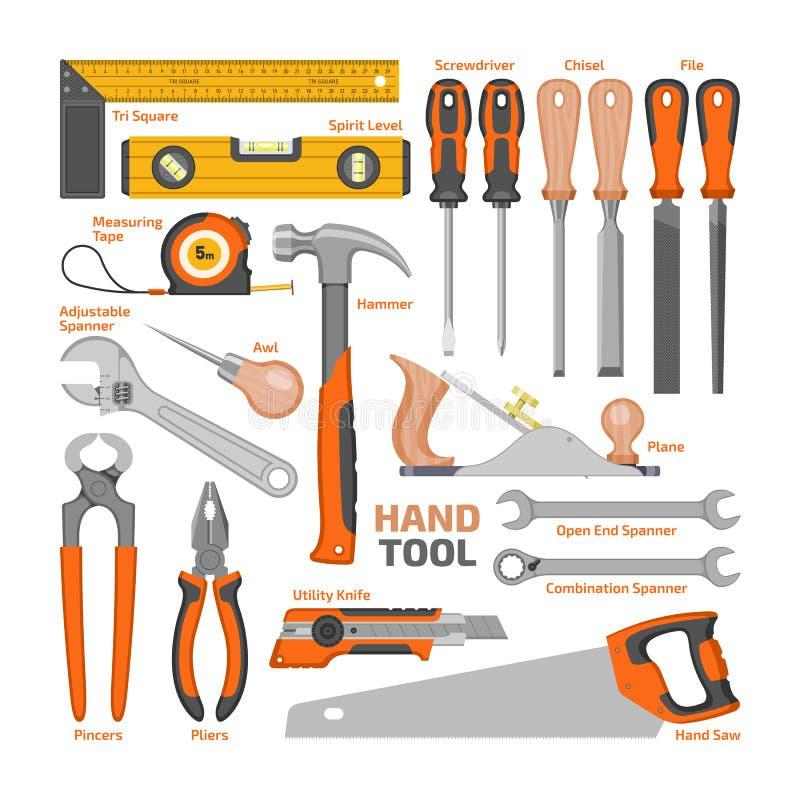 Buigtang van de de werktuigenhamer van de werktuig de vectorbouw en schroevedraaier van toolbox de reeks van de illustratieworksh stock illustratie