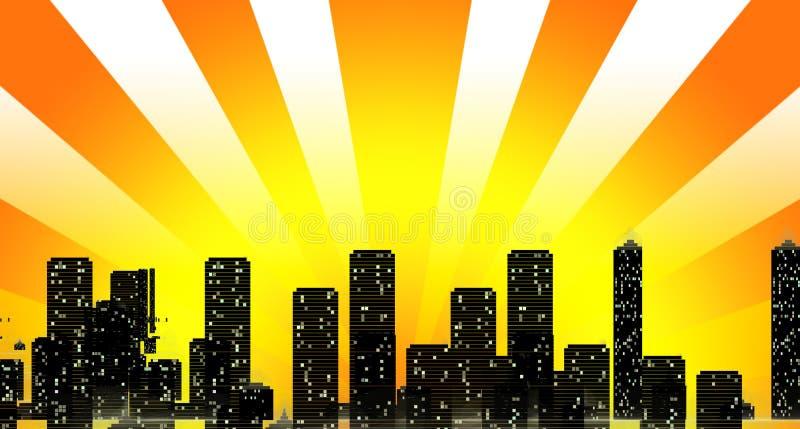 buil εικονική παράσταση πόλης που επισκιάζει τον ήλιο οριζόντων ακτίνων απεικόνιση αποθεμάτων