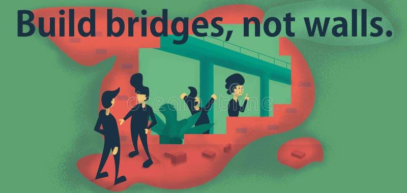Build bridges, not walls vector illustration