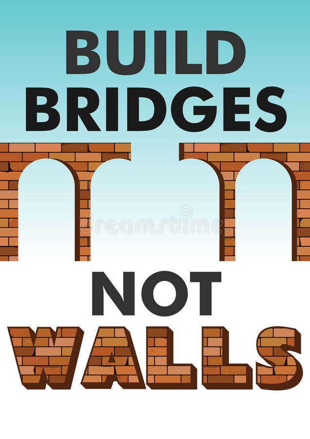 Build bridges not walls text. Poster, flyer template for march, demonstration. Protecting women`s rights, refugees vector illustration