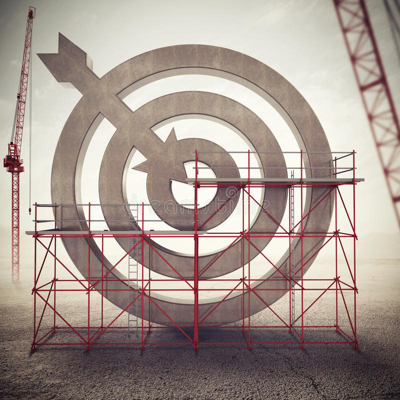 Build a business target . Mixed media stock illustration
