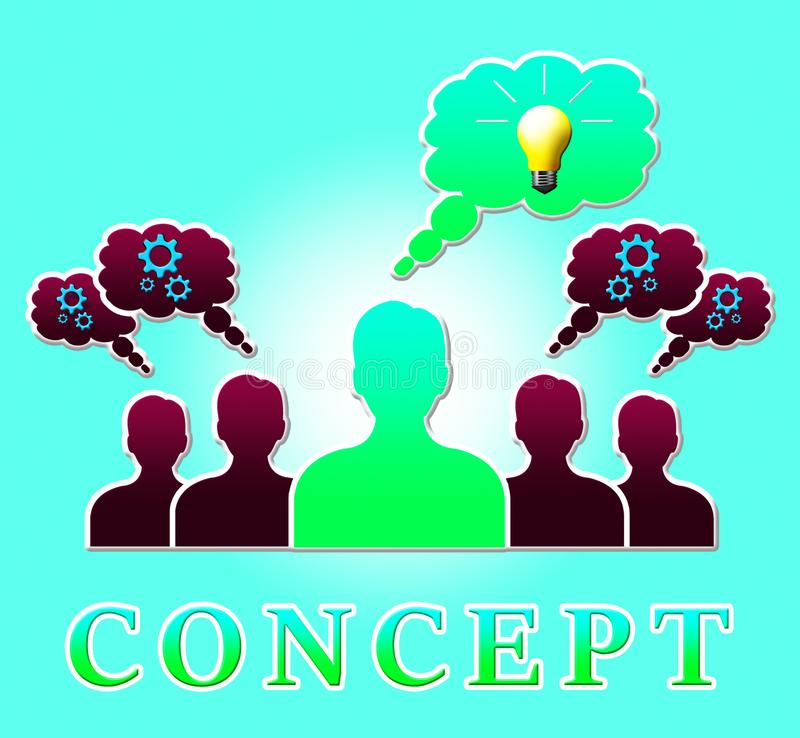 Build Concept Means Ideas Theory 3d Illustration. Build Concept People Means Ideas And Notion 3d Illustration stock illustration