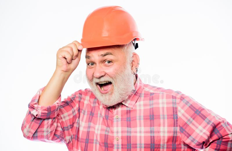 Build and construction. professional repairman in helmet. architect repair and fix. engineer worker career. mature stock images