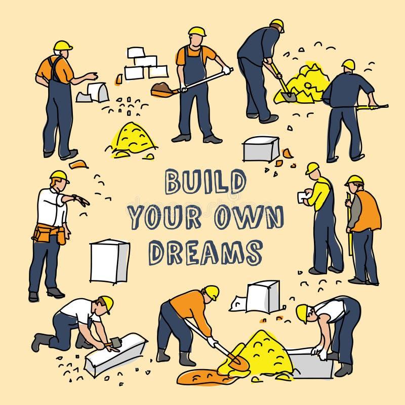 Build dreams sign frame and construction worker card. Color vector illustration. EPS8 stock illustration