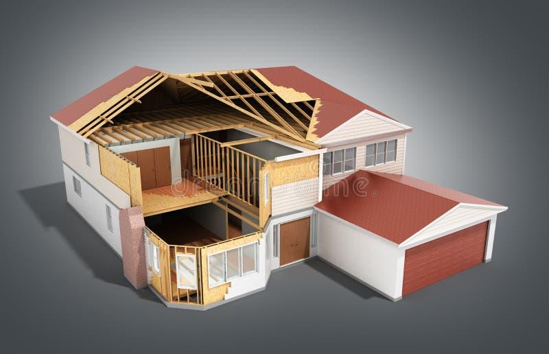 Build House Three-dimensional image 3d render on grey. Image vector illustration