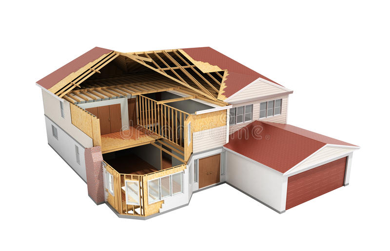 Build House Three-dimensional image 3d render on shadow. Image vector illustration